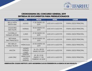 Calendario para preseleccionados del CGB 2019