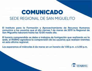 Comunicado Importante – Sede Regional de San Miguelito